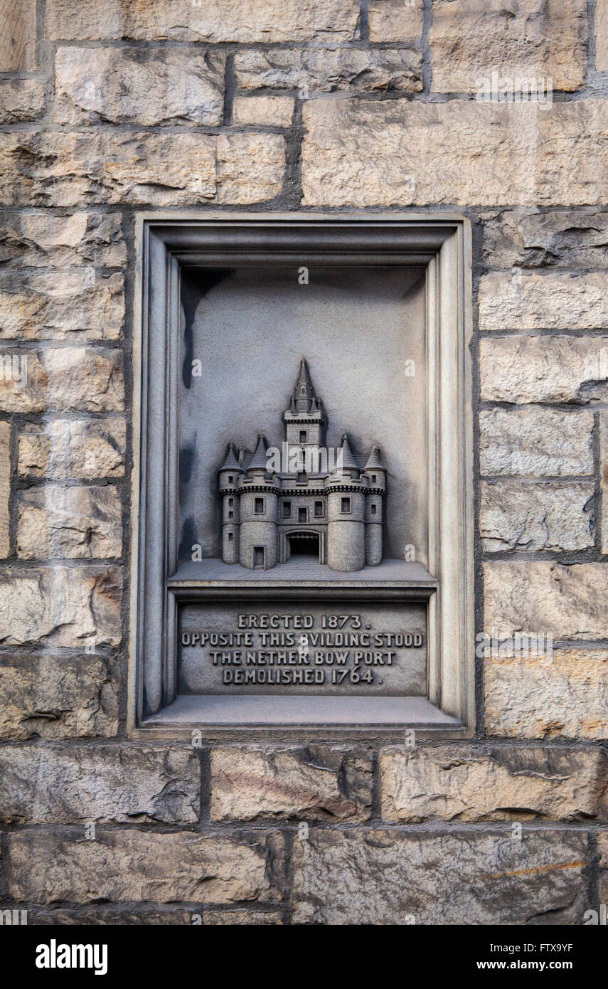A carving on The Royal Mile in Edinburgh marking the location where the Netherbow Port once stood. Stock Photo