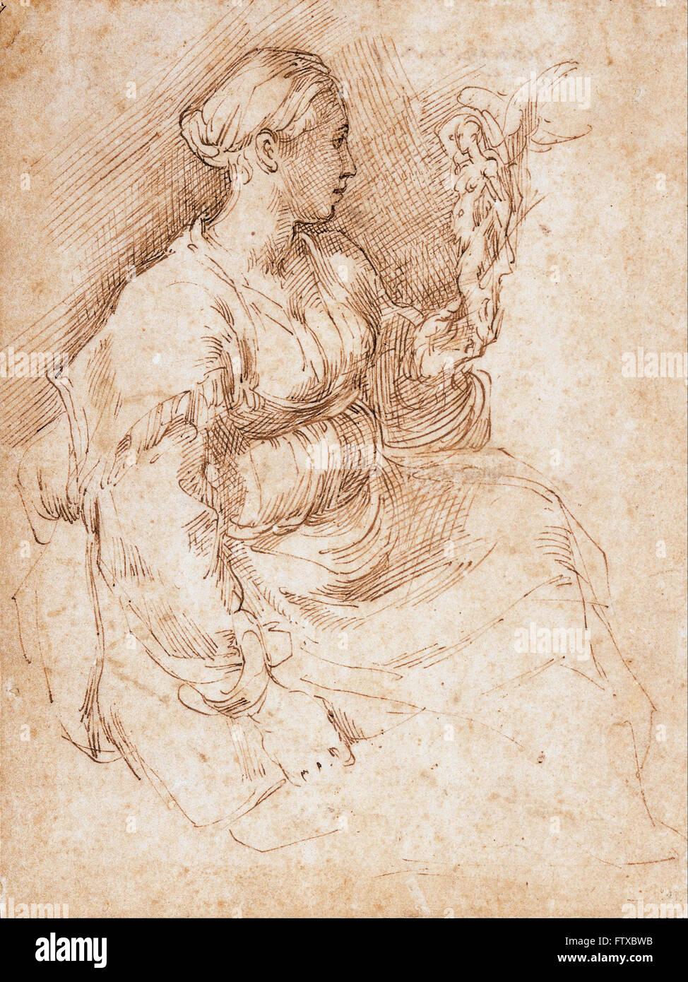 Parmigianino - Woman Seated Holding a Statuette of Victory -  Cincinnati Art Museum - Stock Image