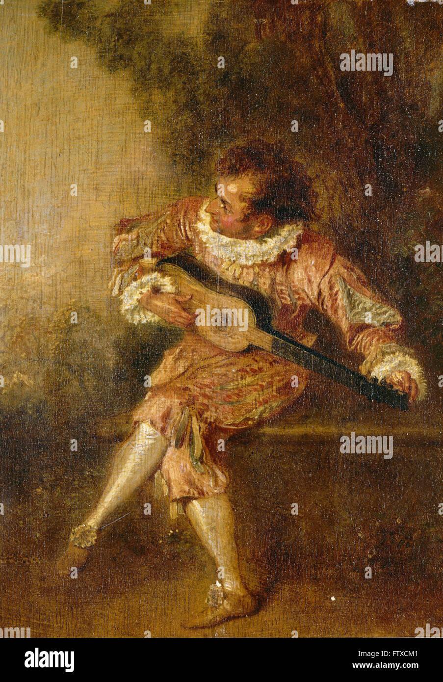 Jean-Antoine Watteau - Le donneur de sérénades (Mezetin) - Château de Chantilly - Stock Image