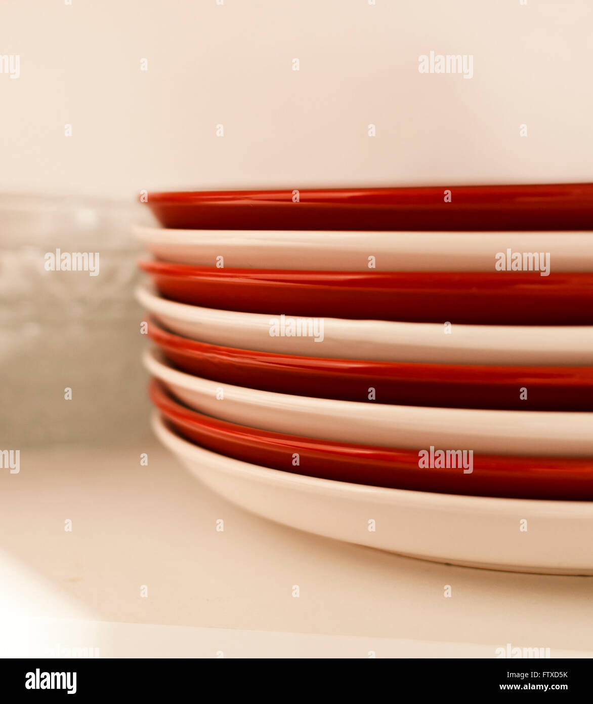 Stacks of bowls and plates - Stock Image
