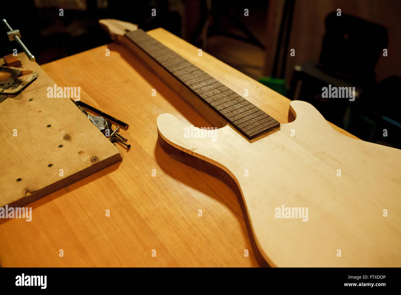 Billet of wood for bass guitar. Manufacture and repair musical instruments. - Stock Image