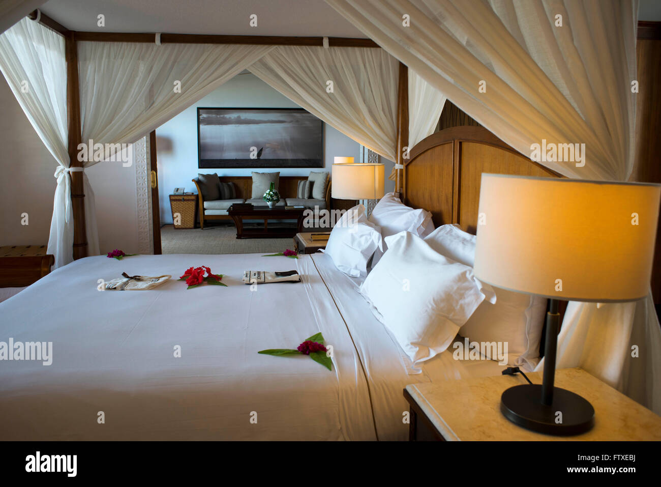 Bedroom and bed of the Luxury villa, suit room, in The Residence Hotel in Zanzibar island a semi-autonomous part - Stock Image