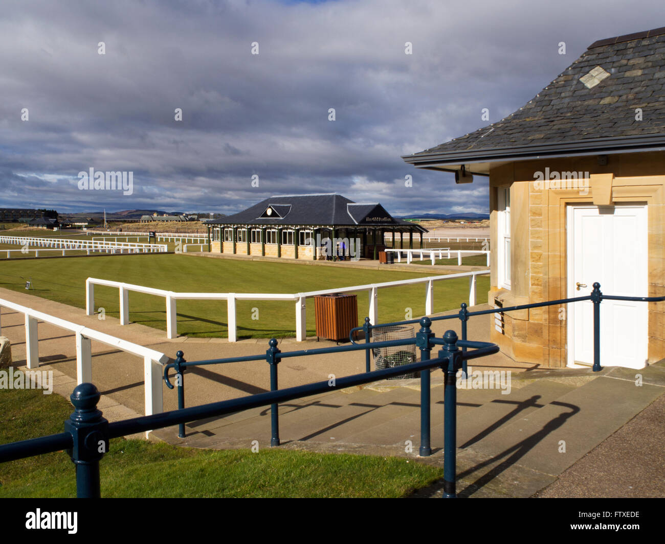 Old Course starter and practice putting green at St Andrews Fife Scotland - Stock Image