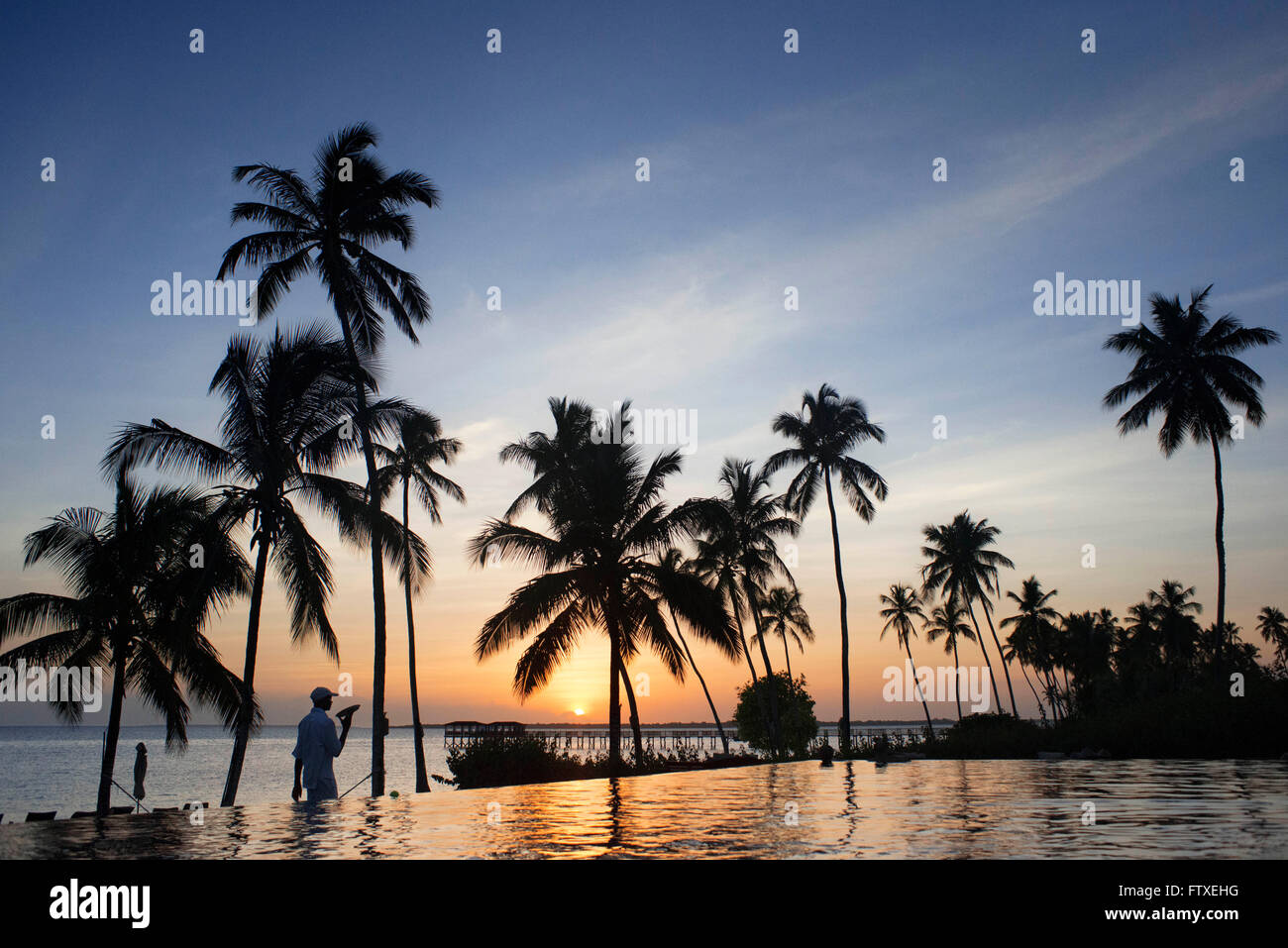 Swimming pool of The Residence Hotel in Zanzibar island a semi-autonomous part of Tanzania, in East Africa - Stock Image