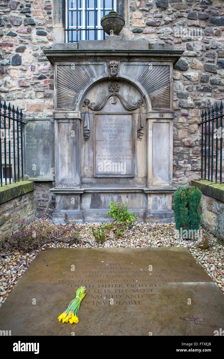EDINBURGH, SCOTLAND - MARCH 12TH 2016: The grave of famous Scotsman Adam Smith at Canongate Kirkyard in Edinburgh, Stock Photo