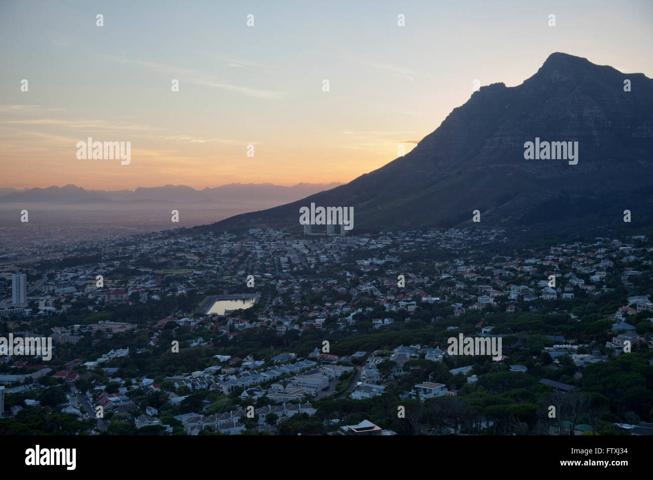 Devils Peak viewed from Lions Head early morning - Cape Town - South Africa - Stock Image