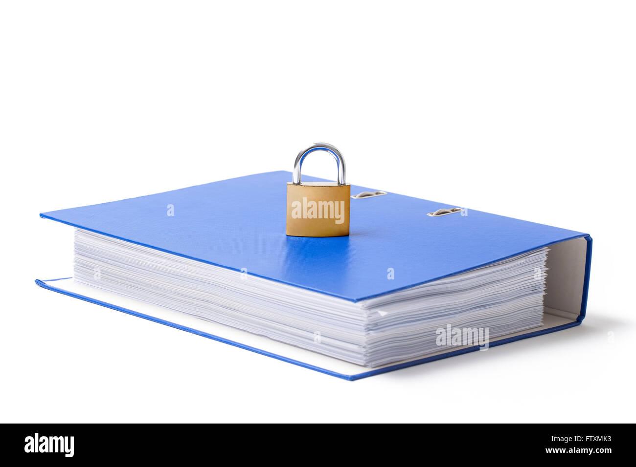 Locked metal padlock put on a blue carton folder on white background. - Stock Image