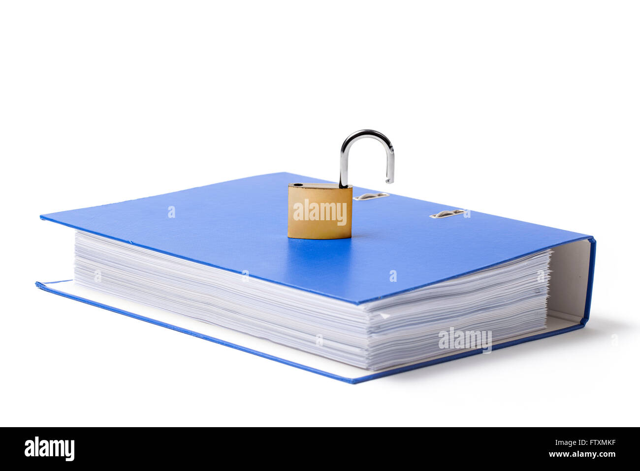 Open metal padlock put on a carton folder on white background. - Stock Image