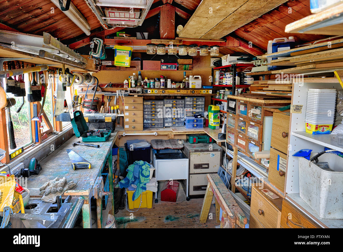 Inside a tool shed in a garden. HDR - Stock Image