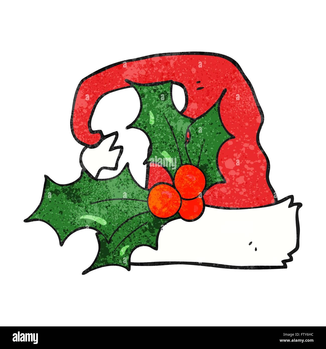 Christmas Holly Cartoon.Freehand Textured Cartoon Christmas Holly Hat Stock Vector