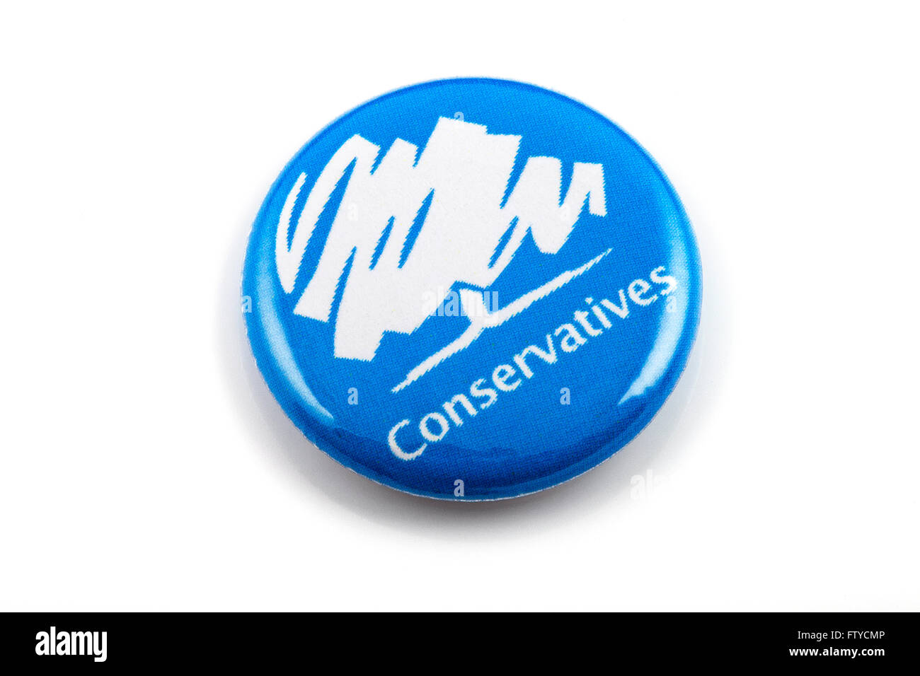 LONDON, UK - MARCH 3RD 2016: A Conservatives (Conservative Party) pin badge over a white background, on 3rd March - Stock Image