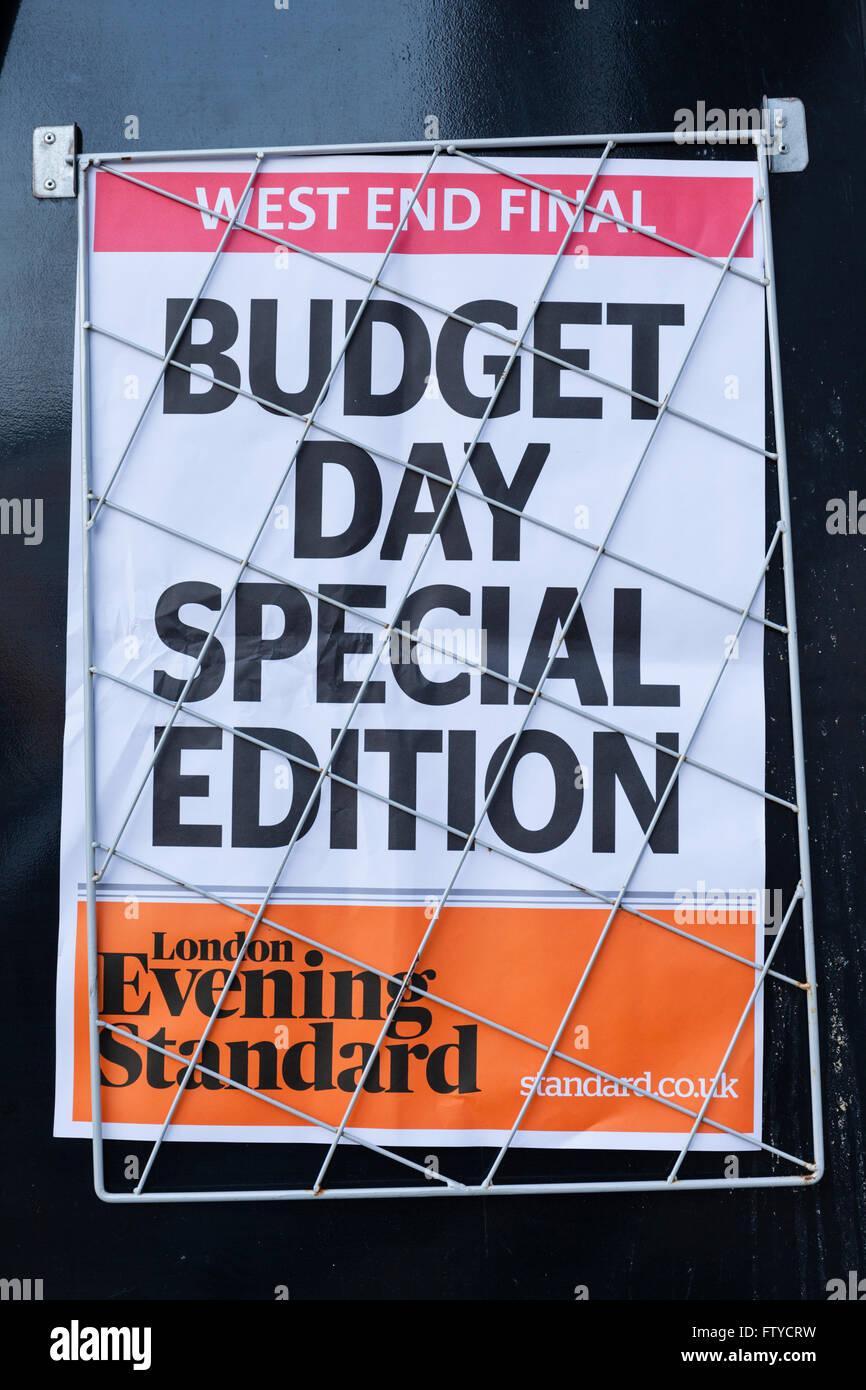 Budget Day newspaper headline in London, England. Stock Photo
