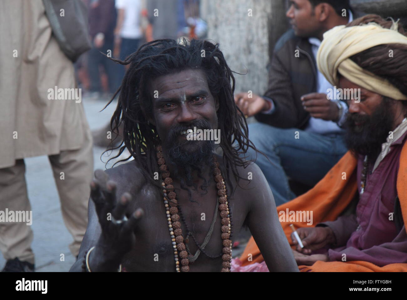 Hindu pilgrim during a Hindu festival, Shivarati at World heritage site- Pashupati, Nepal - Stock Image