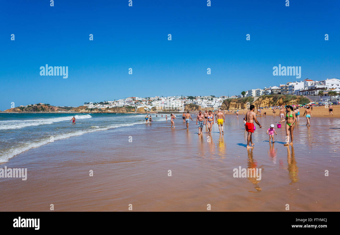 Portugal, Algarve, Faro district, Albufeira, Bairro dos Pescadores, view of Praia do Inatel - Stock Image