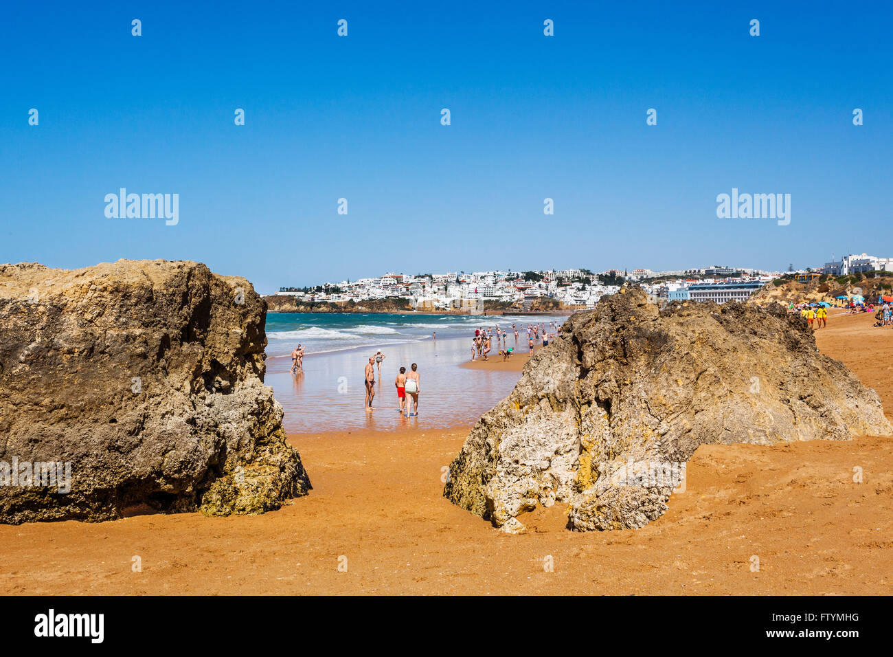 Portugal, Algarve, Faro district, Albufeira, view of Praia dos Alemaes - Stock Image