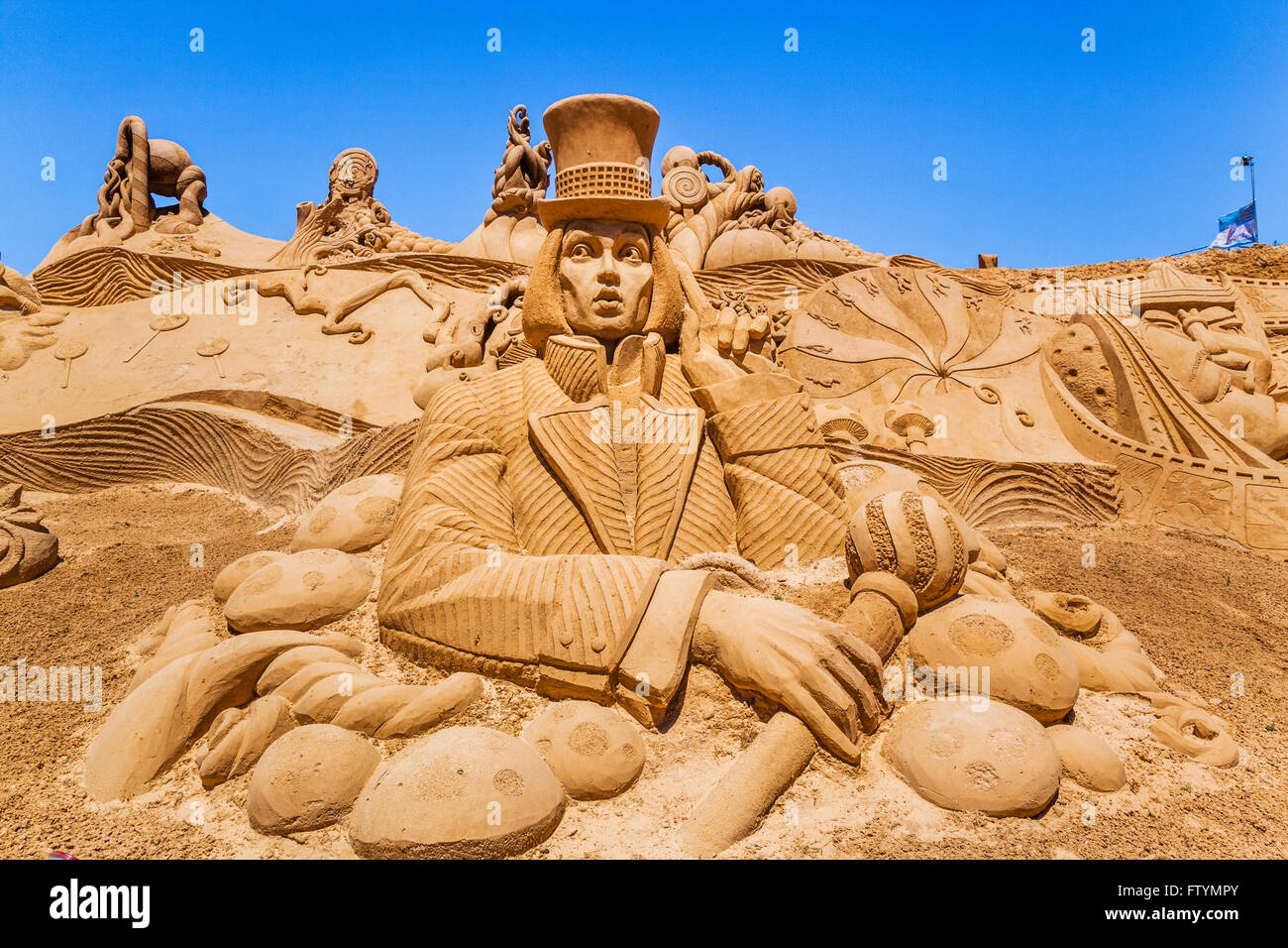 Portugal, Algarve, Faro district, Pera, Willy Wonka sculpture at the FIESA International Sand Festival - Stock Image