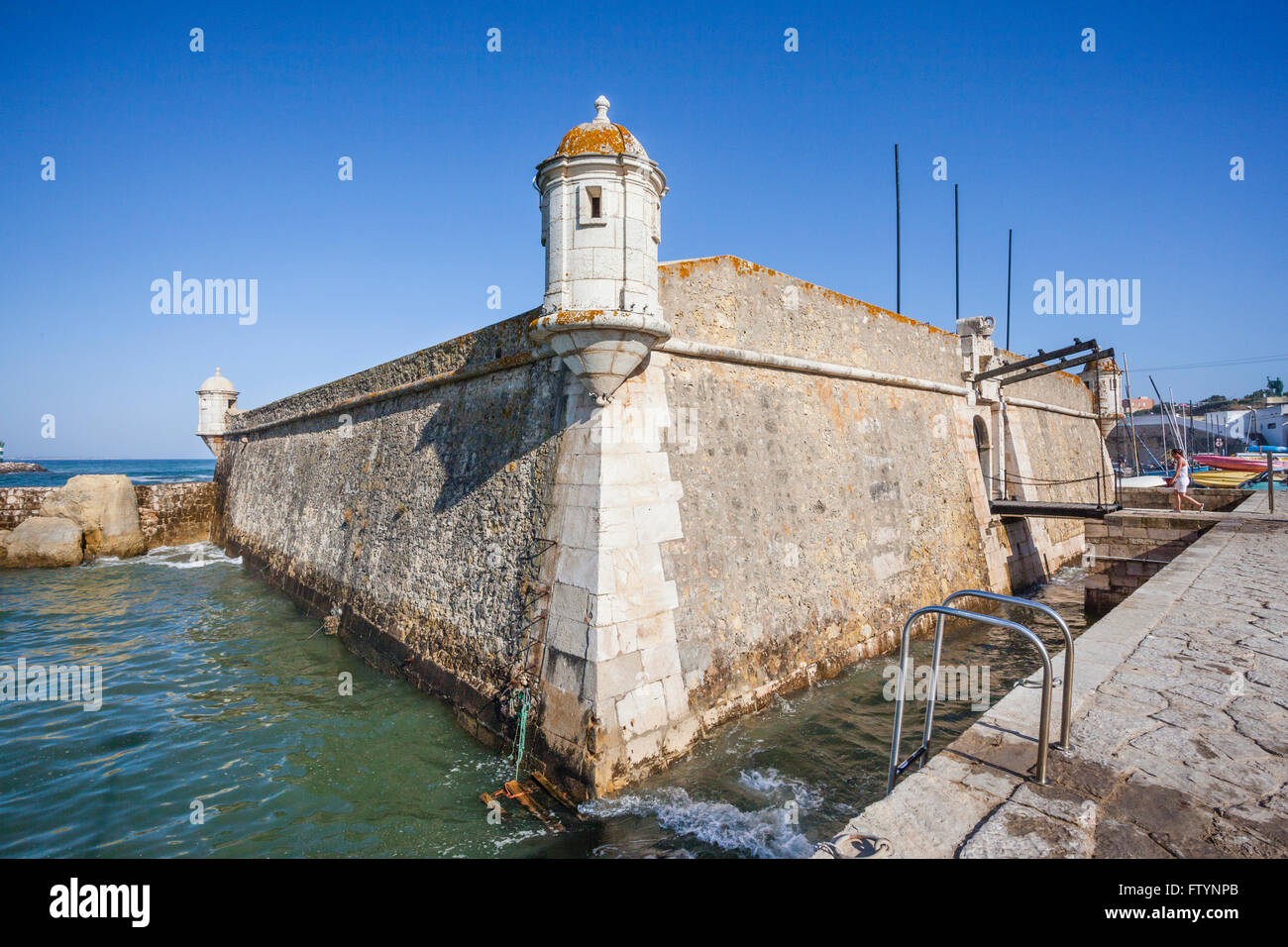 Portugal, Algarve, Lagos, view of Forte de Ponta da Bandeira at the harbour entrance, built in the 17th century - Stock Image