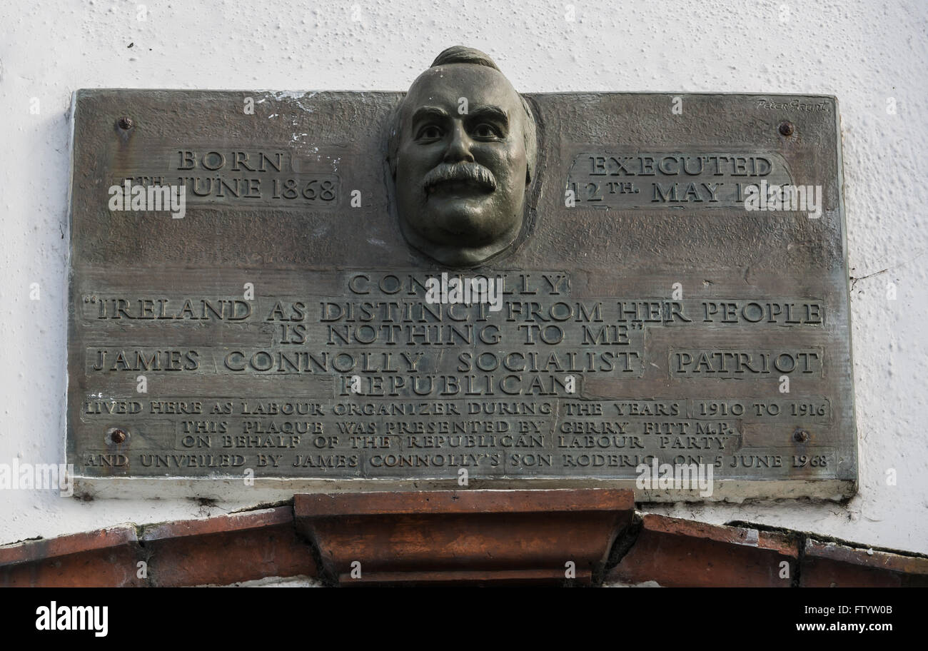 James Connolly memorial plaque on Falls Road, Belfast. Stock Photo