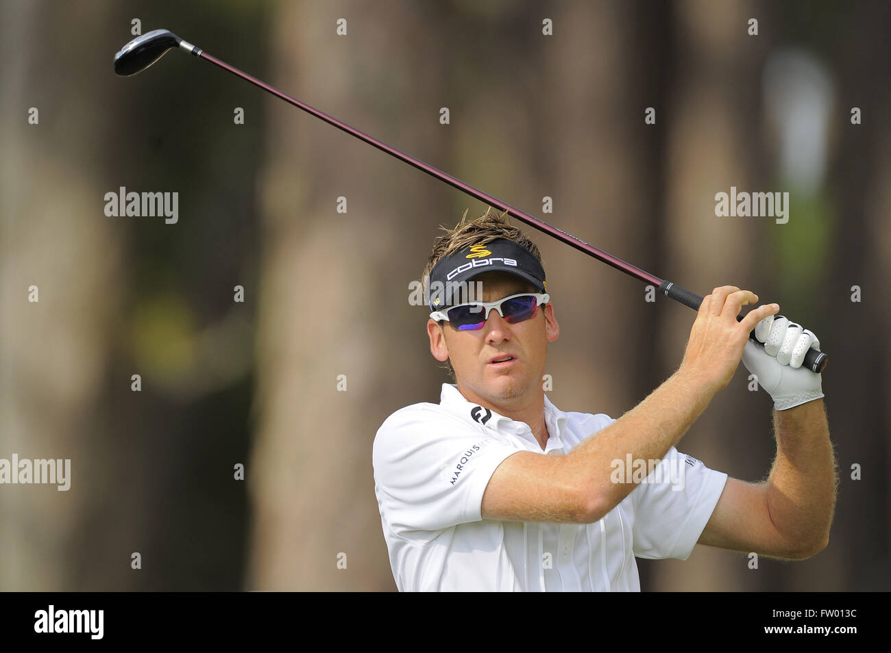 Ponte Vedra Beach, Florida, UNITED STATES. 6th May, 2009. Ian Poulter of England tees off on the 12th hole during - Stock Image