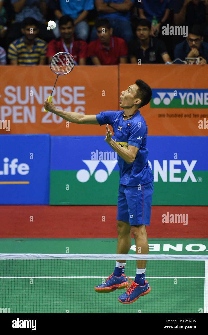 New Delhi. 30th Mar, 2016. Lee Chong Wei of Malaysia competes during the men's singles first round match against - Stock Image