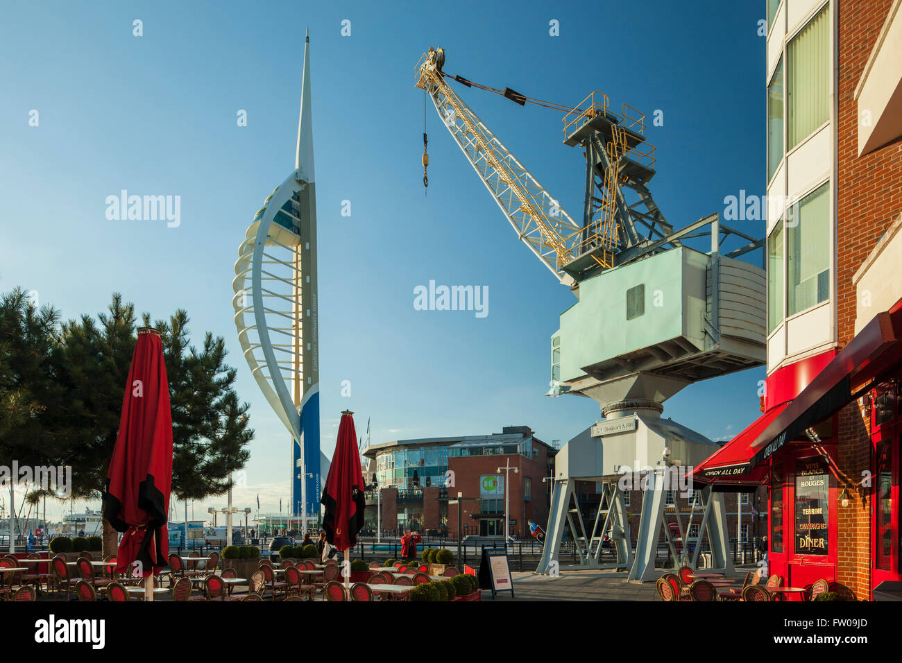 Sunny day in Portsmouth, UK. Spinnaker Tower in the distance. Stock Photo