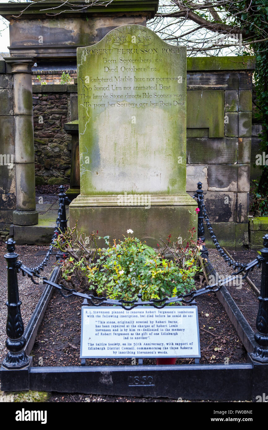 EDINBURGH, SCOTLAND - MARCH 12TH 2016: The grave of famous Scottish poet Robert Fergusson in Canongate Kirkyard Stock Photo