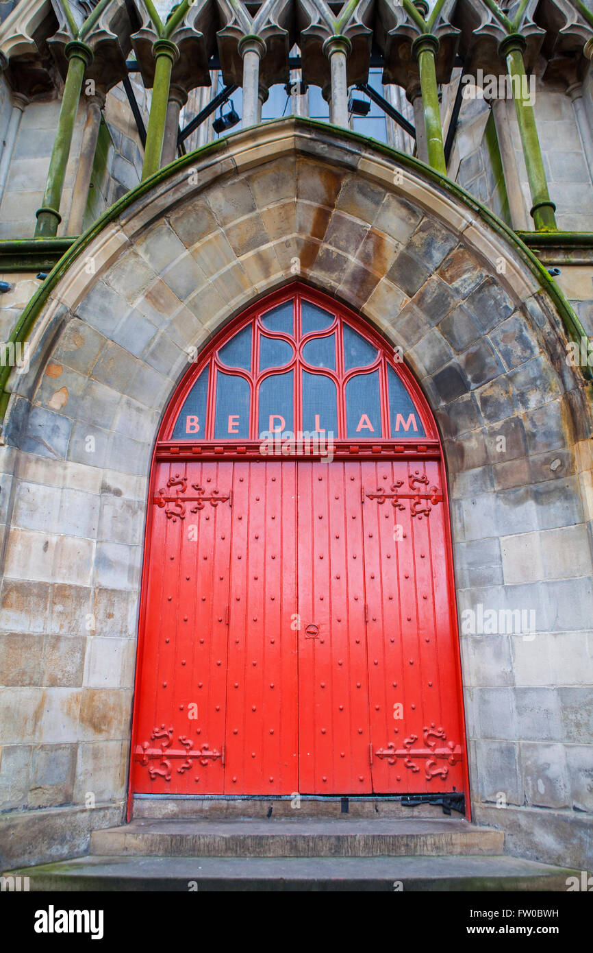 The main entrance to the Bedlam Theatre in Edinburgh, Scotland. - Stock Image
