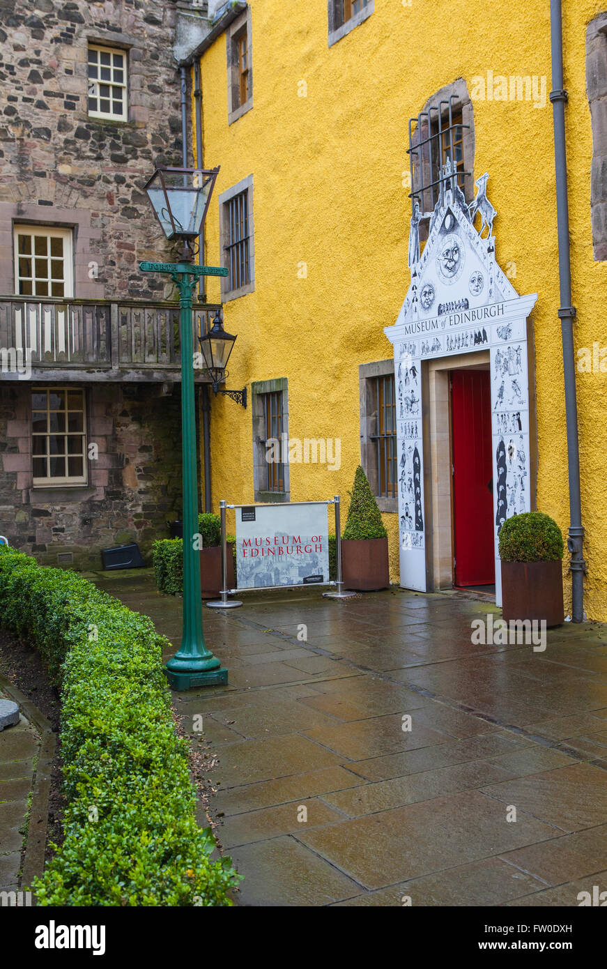 EDINBURGH, SCOTLAND - MARCH 12TH 2016: The main entrance to the Museum of Edinburgh situated on Canongate along Stock Photo