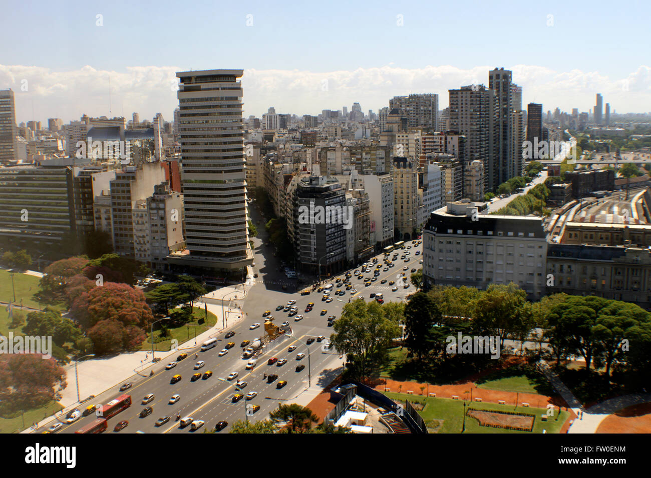 Shot from the Hotel Sheraton in Buenos Aires Argentina looking toward the Ave Libertador - Stock Image