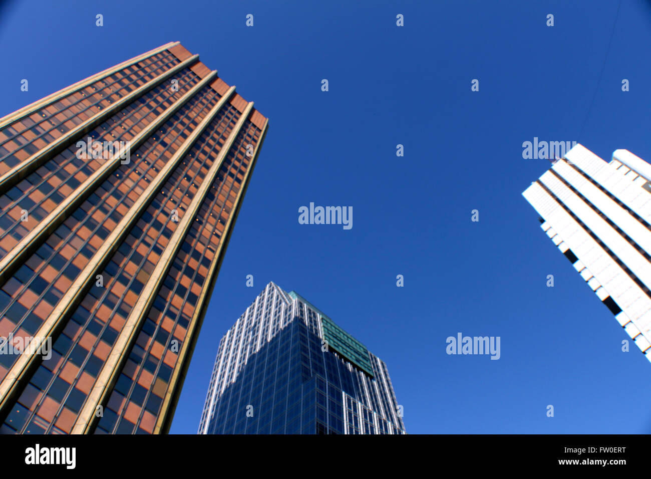 Downtown Buenos Aires looking up at the buildings in the area of Retiro - Stock Image