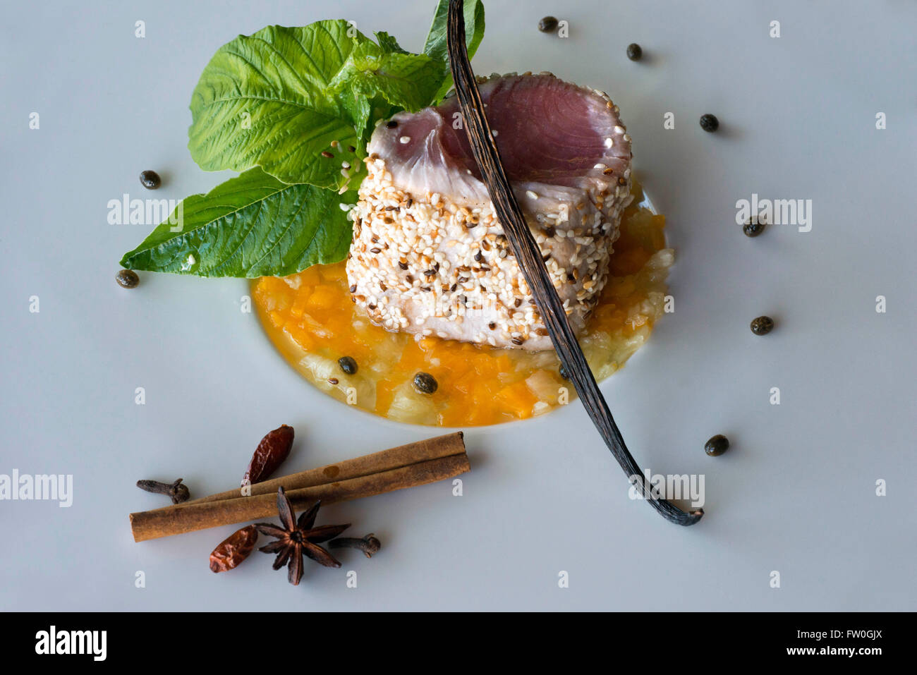 Fresh tuna dish with mix of styles Zanzibar and French, prepared by Raymond Beck in The Residence Hotel and restaurant. - Stock Image