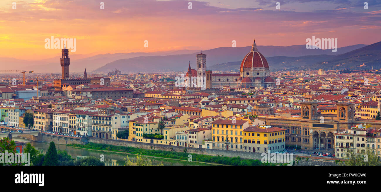 Florence Panorama. Panoramic image of Florence, Italy during beautiful sunset. - Stock Image