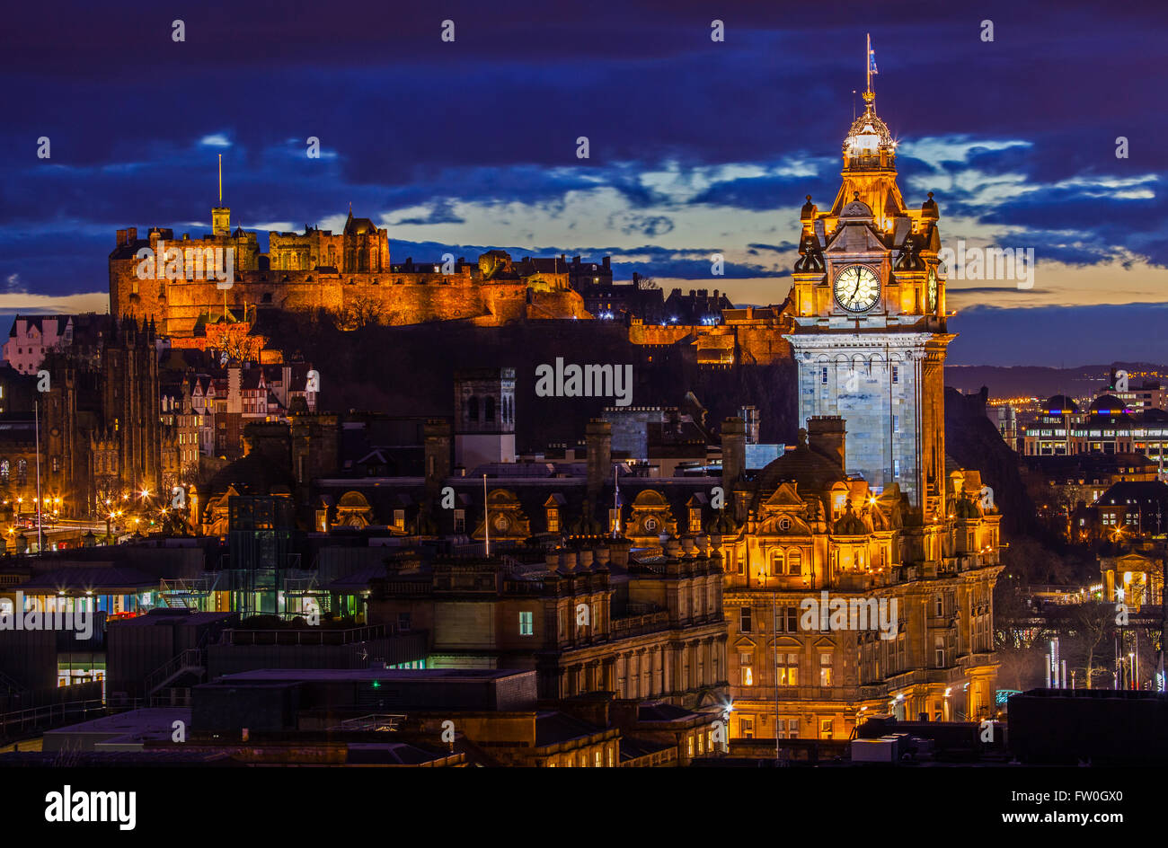 A beautiful view from Calton Hill in Edinburgh, taking in the sights of Edinburgh Castle and the Balmoral Hotel. - Stock Image