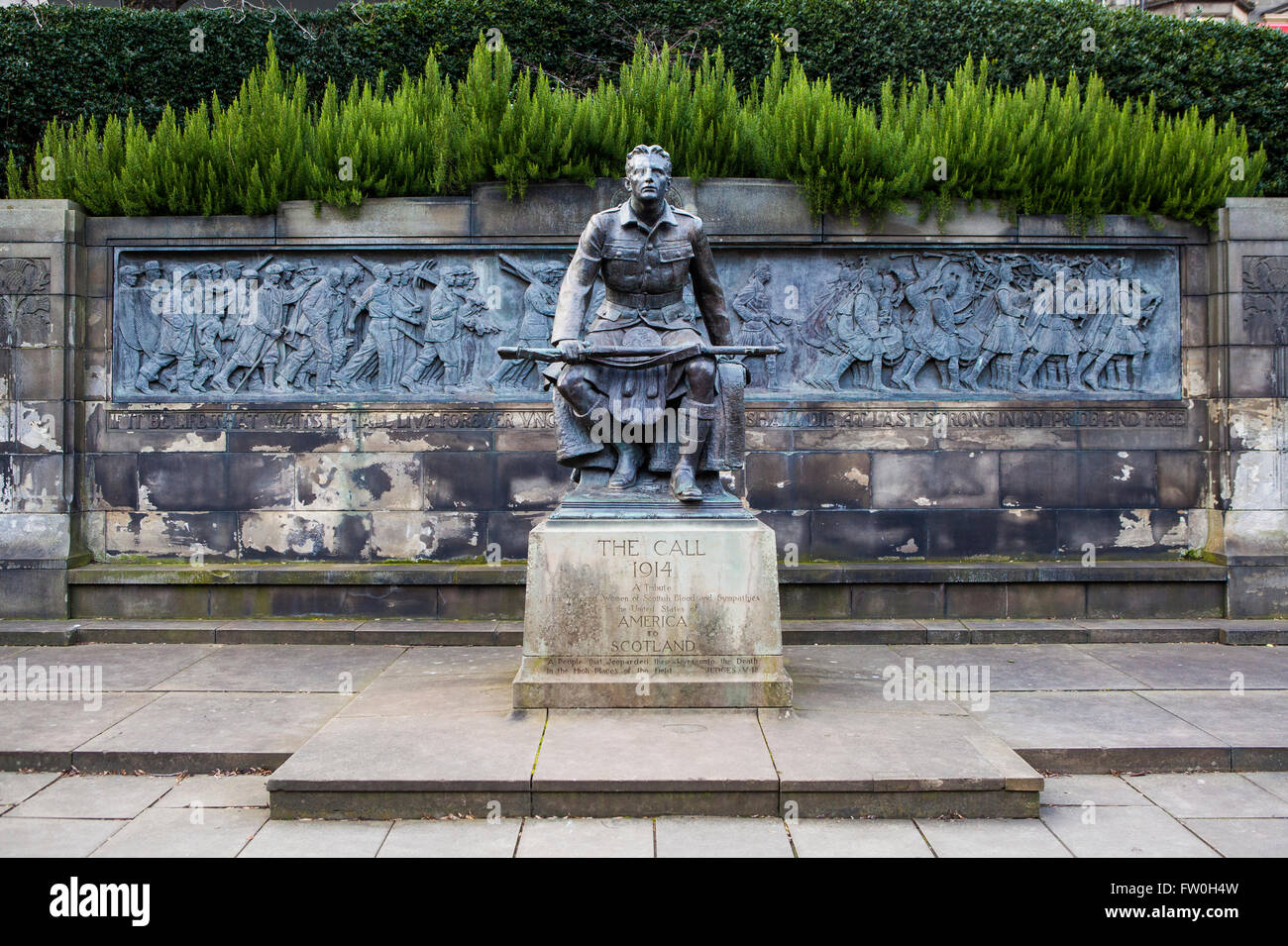 EDINBURGH, SCOTLAND - MARCH 10TH 2016: A view of the Scottish American Memorial in West Princes Street Gardens, Stock Photo
