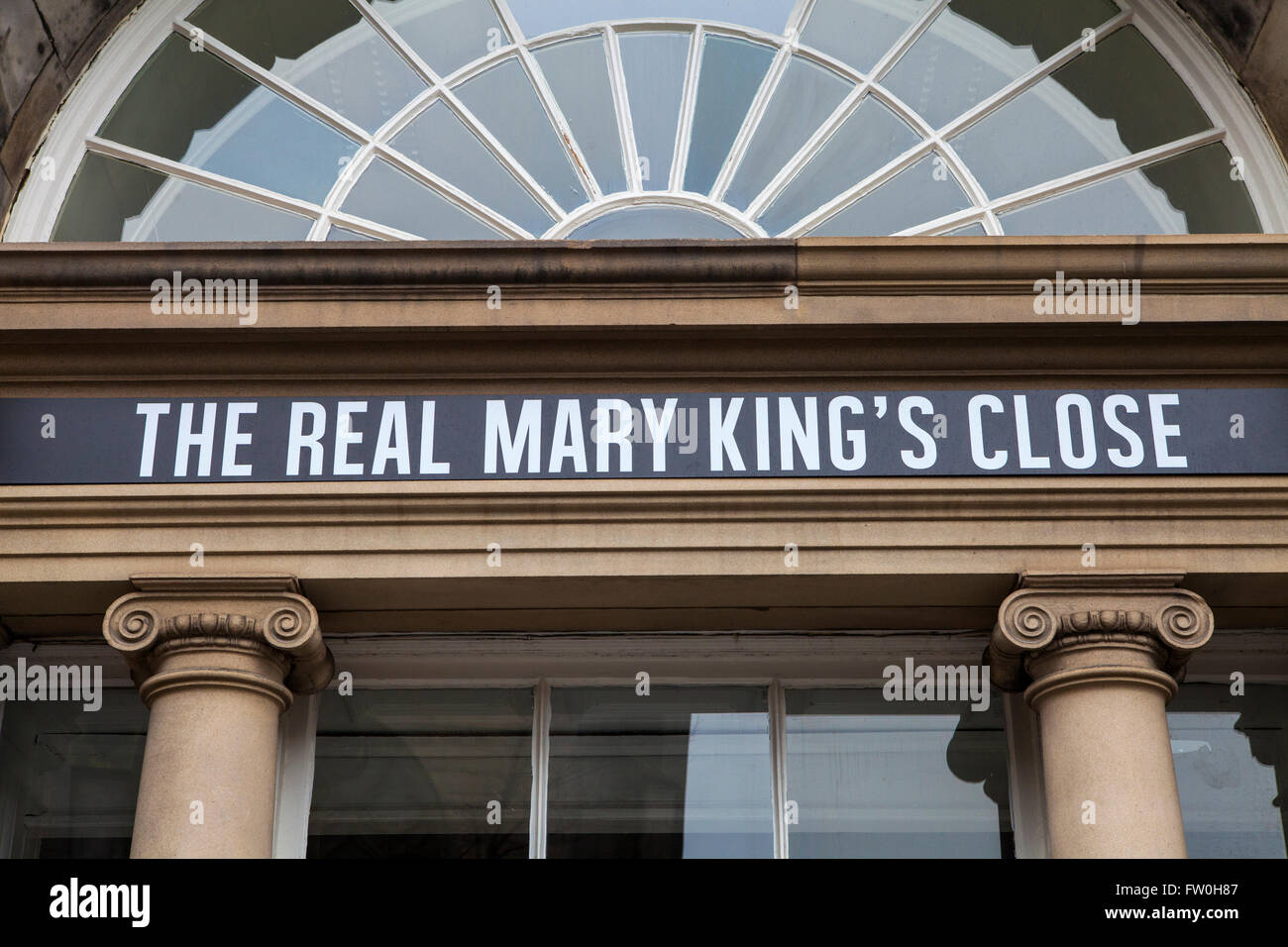 EDINBURGH, SCOTLAND - MARCH 12TH 2016: The sign above the entrance for the Real Mary Kings Close along the Royal Stock Photo