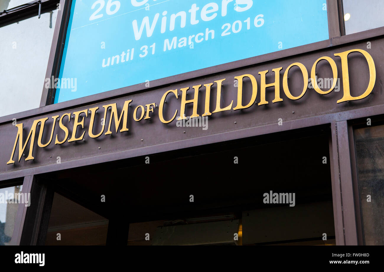 EDINBURGH, SCOTLAND - MARCH 12TH 2016: A view of the sign above the main entrance to the Museum of Childhood in Stock Photo