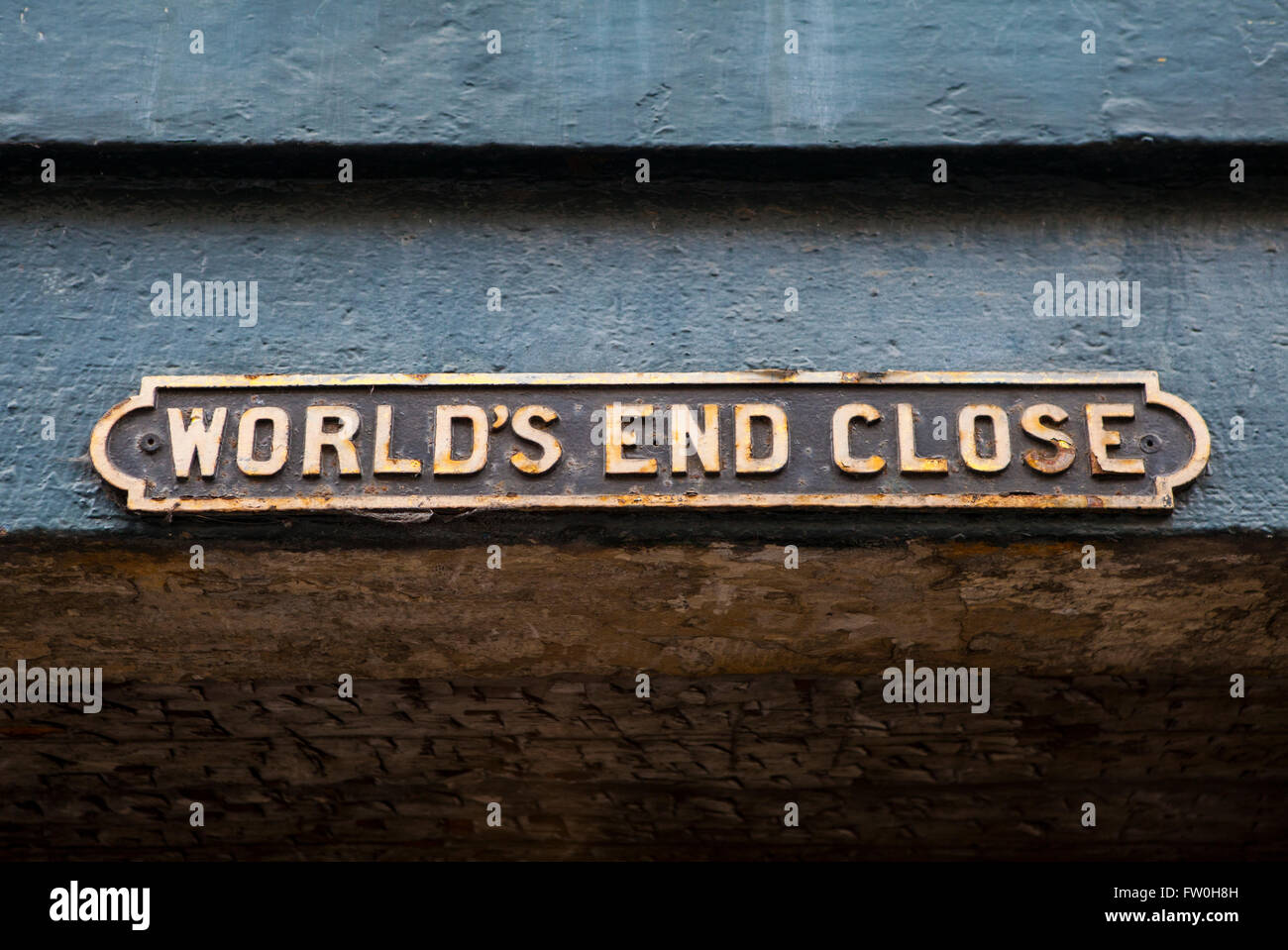 The street sign for Worlds End Close in Edinburgh, Scotland. Stock Photo