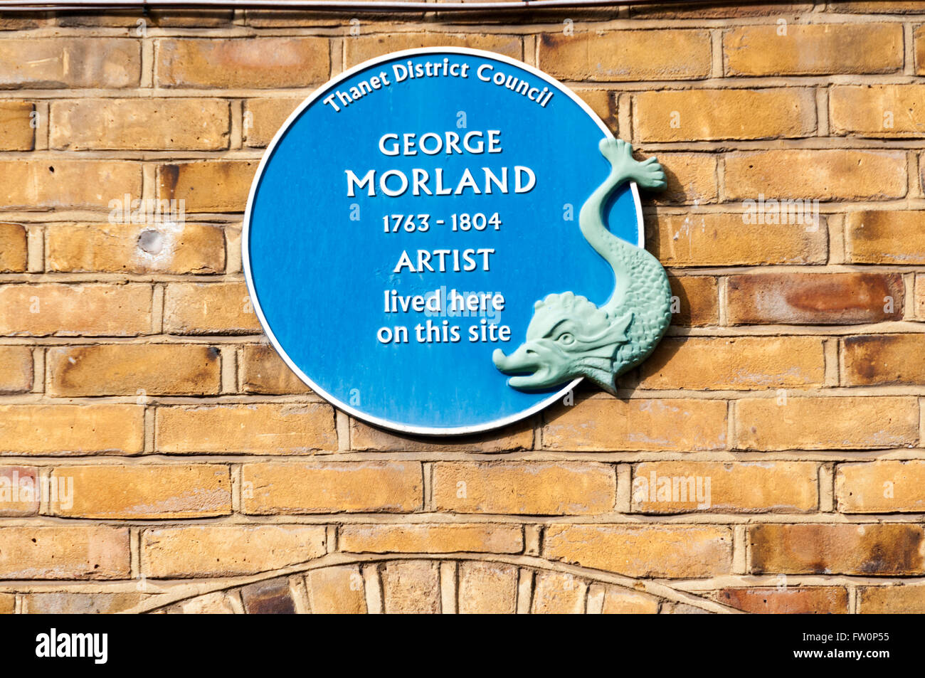 Blue plaque on the site of the former home of the artist George Morland in Love Lane, Margate, Kent, England. - Stock Image