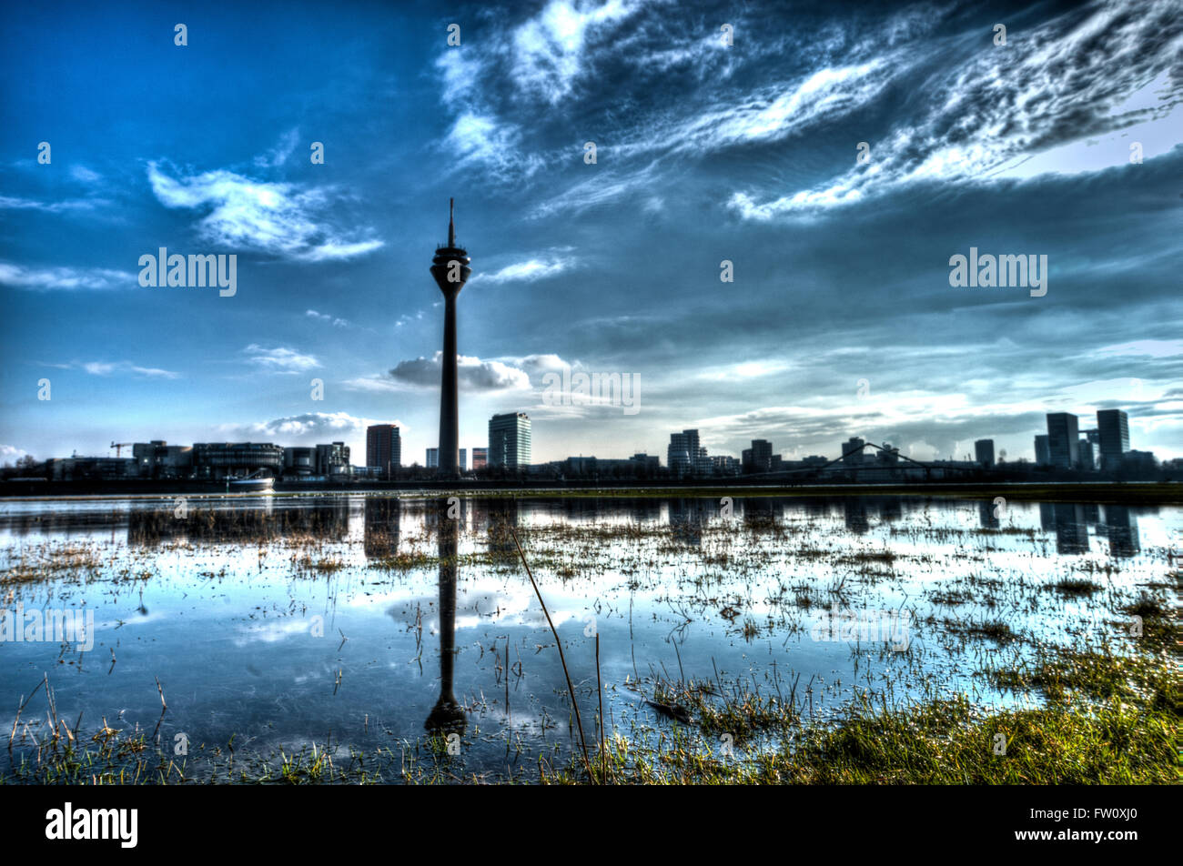 Rhine meadows with reflections at Duesseldorf during floods of river rhine - Stock Image