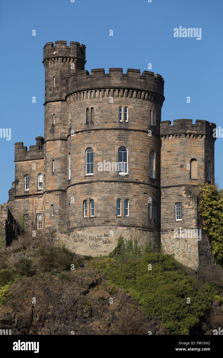 The Governor's House on Calton Hill in Edinburgh, Scotland. The landmark stands next to Old Calton Burial Ground. Stock Photo