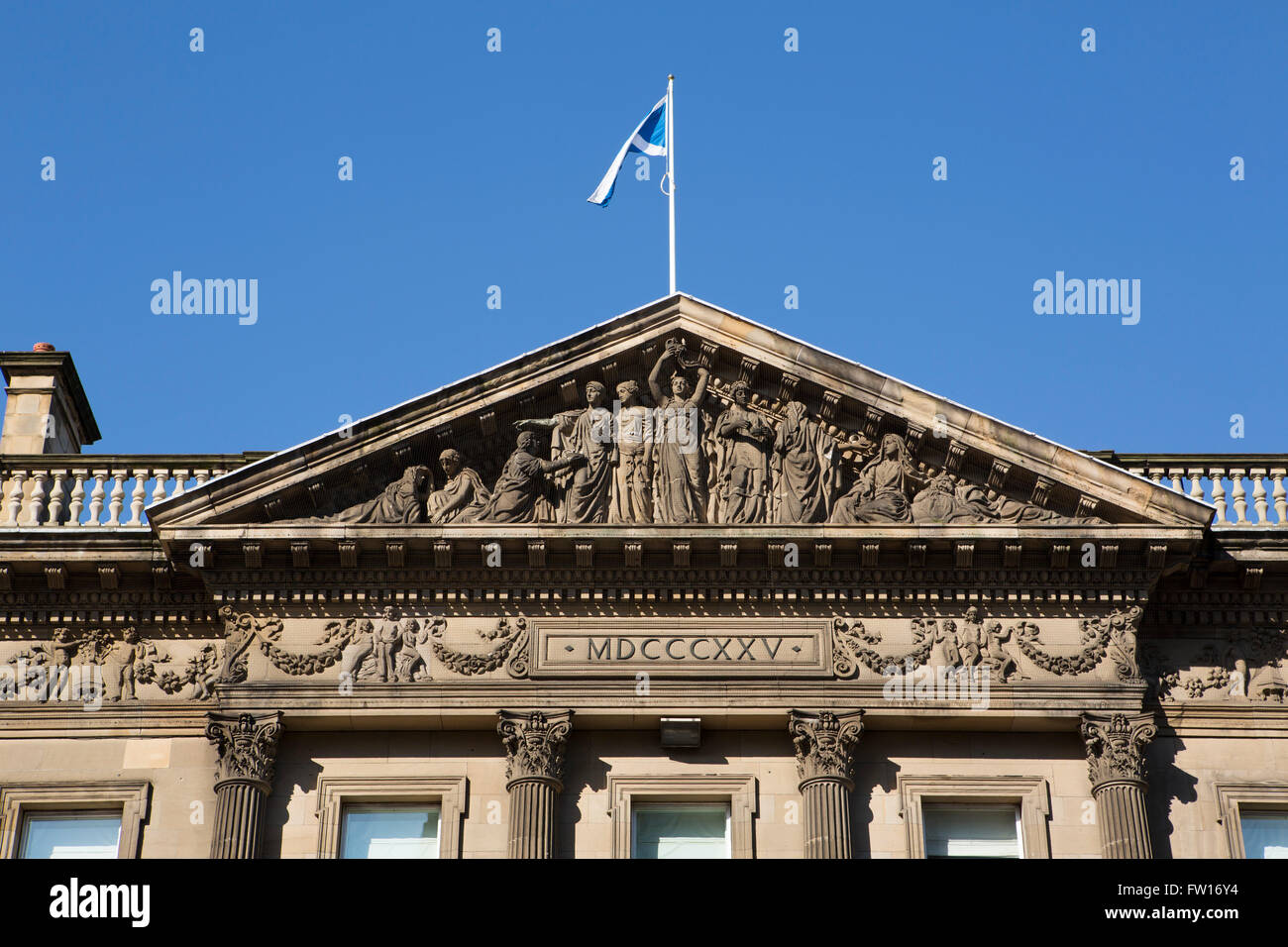 The pediment of the Standard Life Investments building on George Street in Edinburgh, Scotland. - Stock Image