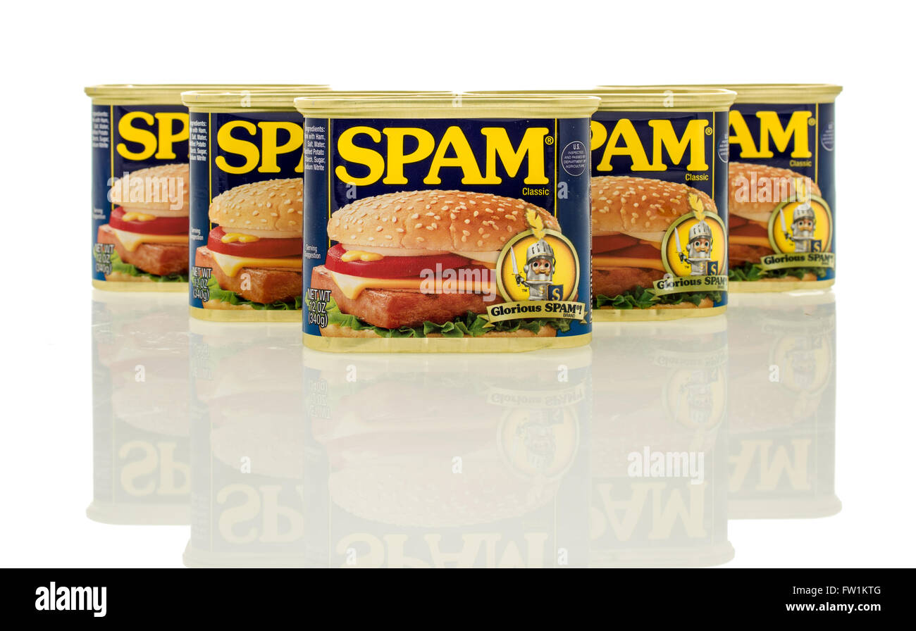 Winneconne, WI - 30 March 2016: Containers of Spam which is precooked  meat containing pork. - Stock Image