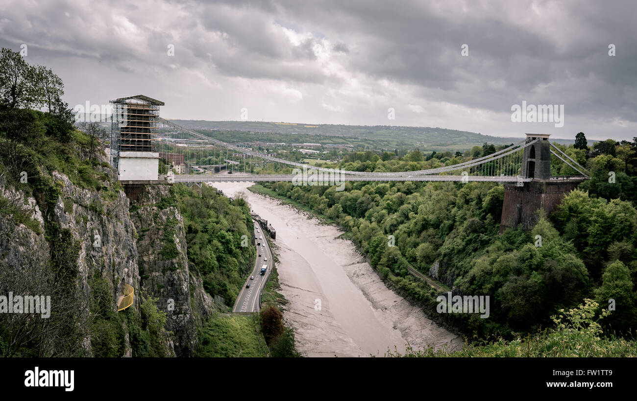 The Clifton Suspension Bridge is spanning the Avon Gorge and the River Avonin Bristol, England. - Stock Image
