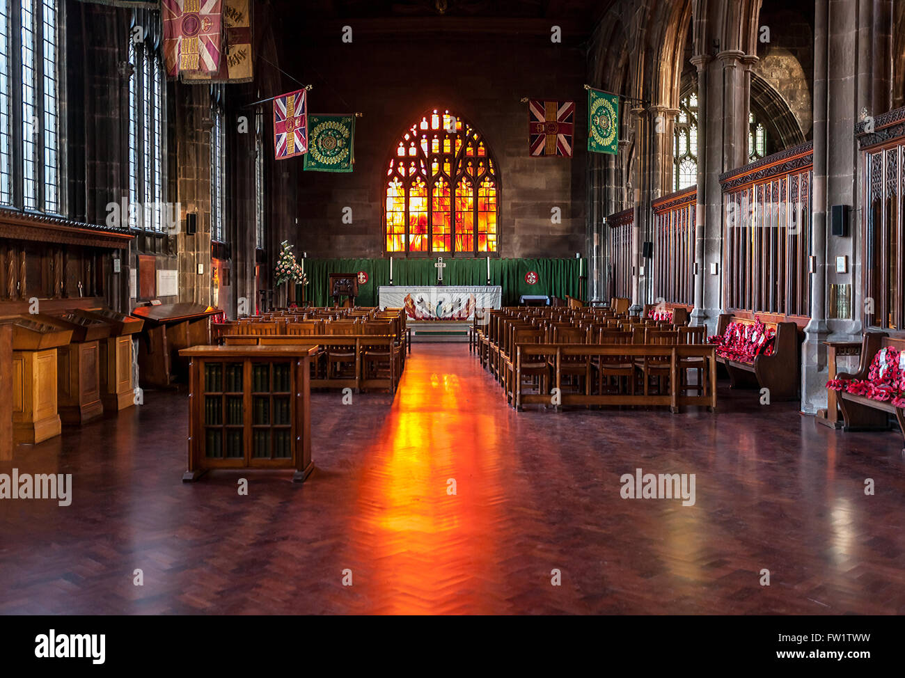 Light from outside coming through the window of Manchester Cathedral. - Stock Image
