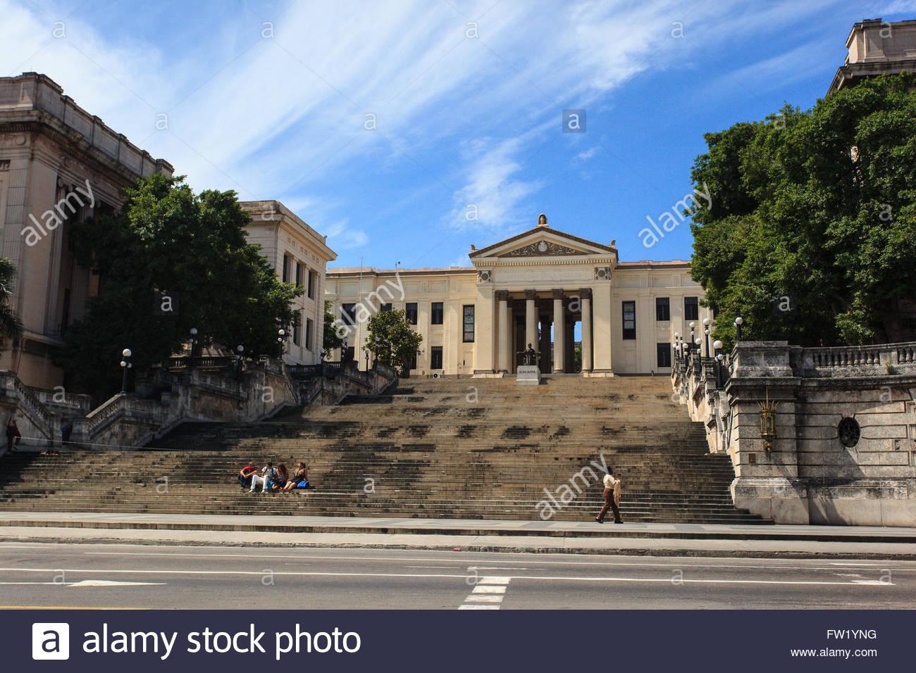 The University of Havana or UH (in Spanish, Universidad de La Habana) is a university located in the Vedado district - Stock Image