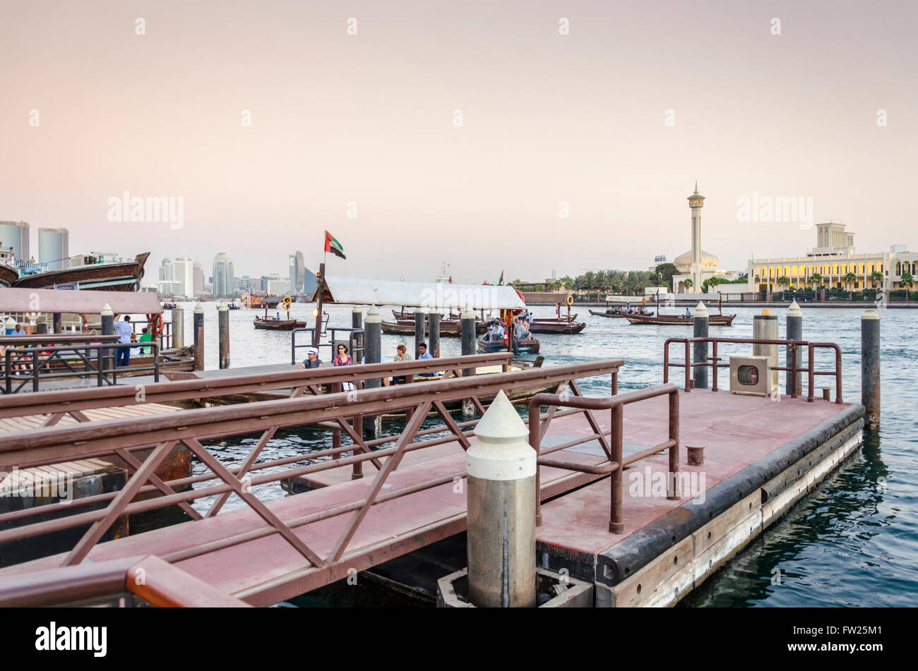Dubai Creek Abra Station near Baniyas Road, Al Ras, UAE - Stock Image