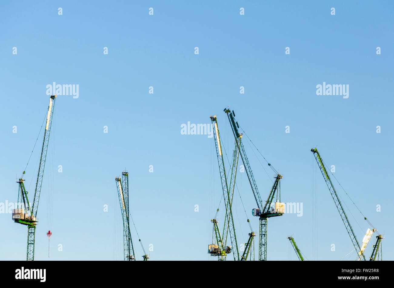 A view of the top of cranes in London. crane, cranes, sky, blue, UK, England, Britain, tops, view, skyline, construction, - Stock Image