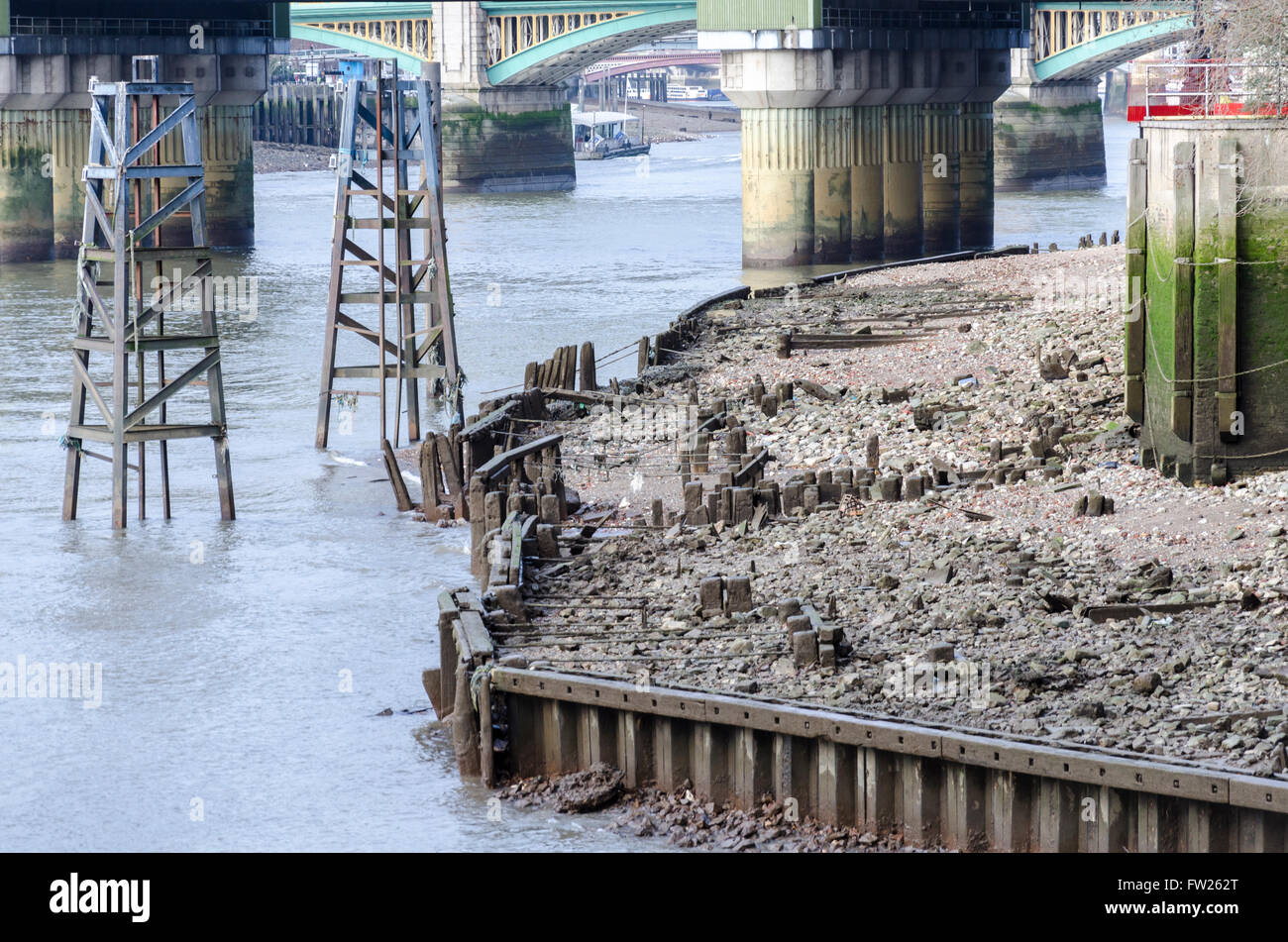 River Thames at low tide, London, UK - Stock Image