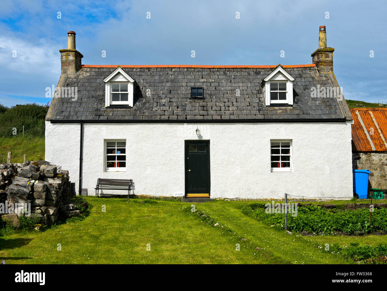 Typical small farmhouse or croft, Clachtoll, Assynt, Scotland, United Kingdom - Stock Image