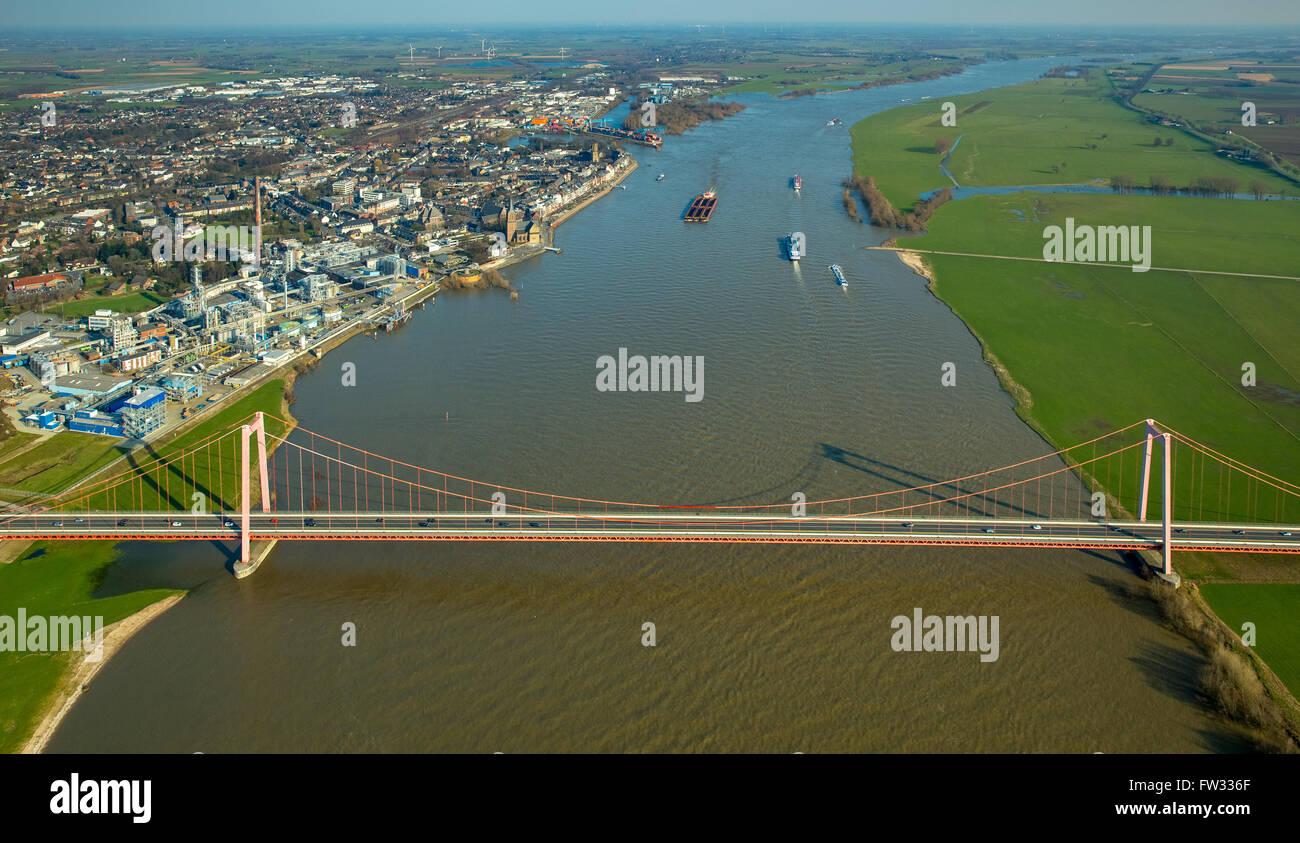 Aerial view of the Emmerich Rhine Bridge during flooding, Emmerich am Rhein, Niederrhein, North Rhine-Westphalia, Stock Photo